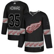 Wholesale Cheap Adidas Red Wings #35 Jimmy Howard Black Authentic Team Logo Fashion Stitched NHL Jersey
