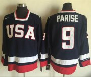 Wholesale Cheap Team USA #9 Zach Parise Navy Blue 2010 Olympic 1960 Throwback Stitched NHL Jersey