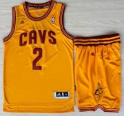 Wholesale Cheap Cleveland Cavaliers 2 Kyrie Irving Yellow Revolution 30 Swingman Jerseys Shorts NBA Suits