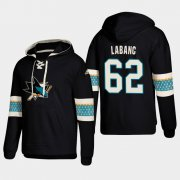 Wholesale Cheap San Jose Sharks #62 Kevin Labanc Black adidas Lace-Up Pullover Hoodie