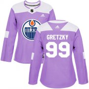 Wholesale Cheap Adidas Oilers #99 Wayne Gretzky Purple Authentic Fights Cancer Women's Stitched NHL Jersey