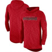 Wholesale Cheap Men's Tampa Bay Buccaneers Nike Red Sideline Slub Performance Hooded Long Sleeve T-Shirt
