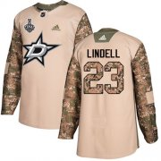 Cheap Adidas Stars #23 Esa Lindell Camo Authentic 2017 Veterans Day Youth 2020 Stanley Cup Final Stitched NHL Jersey