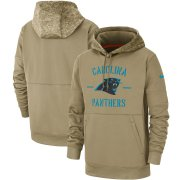 Wholesale Cheap Men's Carolina Panthers Nike Tan 2019 Salute to Service Sideline Therma Pullover Hoodie