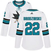 Wholesale Cheap Adidas Sharks #22 Jonny Brodzinski White Road Authentic Women's Stitched NHL Jersey