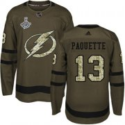 Cheap Adidas Lightning #13 Cedric Paquette Green Salute to Service Youth 2020 Stanley Cup Champions Stitched NHL Jersey