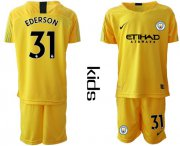 Wholesale Cheap Manchester City #31 Ederson Yellow Goalkeeper Kid Soccer Club Jersey