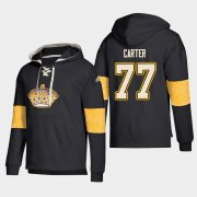 Wholesale Cheap Los Angeles Kings #77 Jeff Carter Black adidas Lace-Up Pullover Hoodie