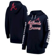 Wholesale Cheap Atlanta Braves G-III 4Her by Carl Banks Women's Extra Innings Pullover Hoodie Navy