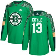 Wholesale Cheap Adidas Bruins #13 Charlie Coyle adidas Green St. Patrick's Day Authentic Practice Stitched NHL Jersey