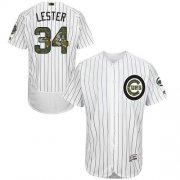 Wholesale Cheap Cubs #34 Jon Lester White(Blue Strip) Flexbase Authentic Collection Memorial Day Stitched MLB Jersey