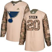 Wholesale Cheap Adidas Blues #20 Alexander Steen Camo Authentic 2017 Veterans Day Stitched NHL Jersey