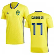 Wholesale Cheap Sweden #17 Claesson Home Soccer Country Jersey