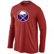 Wholesale Cheap NHL Buffalo Sabres Big & Tall Logo Long Sleeve T-Shirt Red