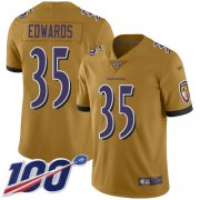 Wholesale Cheap Nike Ravens #35 Gus Edwards Gold Men's Stitched NFL Limited Inverted Legend 100th Season Jersey