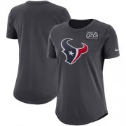 Wholesale Cheap NFL Women's Houston Texans Nike Anthracite Crucial Catch Tri-Blend Performance T-Shirt
