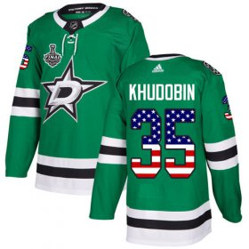 Cheap Adidas Stars #35 Anton Khudobin Green Home Authentic USA Flag Youth 2020 Stanley Cup Final Stitched NHL Jersey