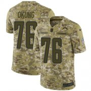 Wholesale Cheap Nike Chargers #76 Russell Okung Camo Youth Stitched NFL Limited 2018 Salute to Service Jersey