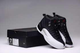 Wholesale Cheap Air Jordan 12 Playoffs Cleat Shoes Black/Gym Red-White-Metallic Silver