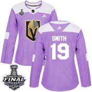 Wholesale Cheap Adidas Golden Knights #19 Reilly Smith Purple Authentic Fights Cancer 2018 Stanley Cup Final Women's Stitched NHL Jersey