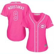 Wholesale Cheap Reds #9 Mike Moustakas Pink Fashion Women's Stitched MLB Jersey