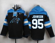 Wholesale Cheap Nike Panthers #95 Charles Johnson Black Player Pullover NFL Hoodie