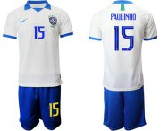 Wholesale Cheap Brazil #15 Paulinho White Soccer Country Jersey