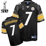 Wholesale Cheap Steelers #7 Ben Roethlisberger Black Super Bowl XLV Stitched NFL Jersey