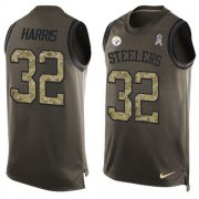 Wholesale Cheap Nike Steelers #32 Franco Harris Green Men's Stitched NFL Limited Salute To Service Tank Top Jersey