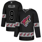 Wholesale Cheap Adidas Coyotes #9 Clayton Keller Black Authentic Team Logo Fashion Stitched NHL Jersey