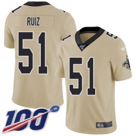 Wholesale Cheap Nike Saints #51 Cesar Ruiz Gold Youth Stitched NFL Limited Inverted Legend 100th Season Jersey