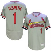 Wholesale Cheap Cardinals #1 Ozzie Smith Grey Flexbase Authentic Collection Cooperstown Stitched MLB Jersey