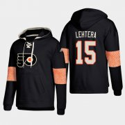 Wholesale Cheap Philadelphia Flyers #15 Jori Lehtera Black adidas Lace-Up Pullover Hoodie