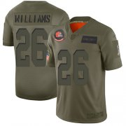 Wholesale Cheap Nike Browns #26 Greedy Williams Camo Youth Stitched NFL Limited 2019 Salute to Service Jersey