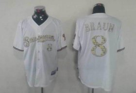 Wholesale Cheap Brewers #8 Ryan Braun White USMC Cool Base Stitched MLB Jersey
