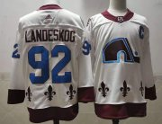Wholesale Cheap Men's Colorado Avalanche #92 Gabriel Landeskog White 2021 Retro Stitched NHL Jersey