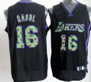 Wholesale Cheap Los Angeles Lakers #16 Paul Gaslo Black Camo Fashion Jersey