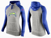 Wholesale Cheap Women's Nike Los Angeles Chargers Performance Hoodie Grey & Blue_2