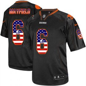 Wholesale Cheap Nike Browns #6 Baker Mayfield Black Men\'s Stitched NFL Elite USA Flag Fashion Jersey