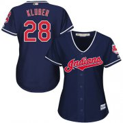Wholesale Cheap Indians #28 Corey Kluber Navy Blue Women's Alternate Stitched MLB Jersey