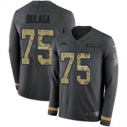 Wholesale Cheap Nike Chargers #75 Bryan Bulaga Anthracite Salute to Service Youth Stitched NFL Limited Therma Long Sleeve Jersey