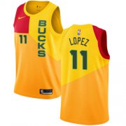 Wholesale Cheap Nike Bucks #11 Brook Lopez Yellow NBA Swingman City Edition Jersey