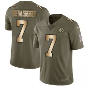 Wholesale Cheap Nike Steelers #7 Ben Roethlisberger Olive/Gold Youth Stitched NFL Limited 2017 Salute to Service Jersey