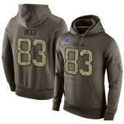 Wholesale Cheap NFL Men's Nike Buffalo Bills #83 Andre Reed Stitched Green Olive Salute To Service KO Performance Hoodie