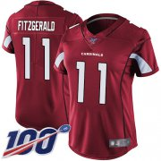 Wholesale Cheap Nike Cardinals #11 Larry Fitzgerald Red Team Color Women's Stitched NFL 100th Season Vapor Limited Jersey