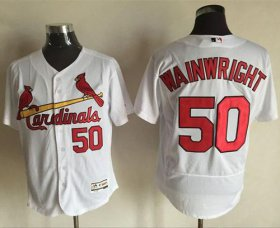 Wholesale Cheap Cardinals #50 Adam Wainwright White Flexbase Authentic Collection Stitched MLB Jersey