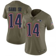 Wholesale Cheap Nike Patriots #14 Mohamed Sanu Sr Olive Women's Stitched NFL Limited 2017 Salute to Service Jersey