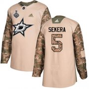 Wholesale Cheap Adidas Stars #5 Andrej Sekera Camo Authentic 2017 Veterans Day 2020 Stanley Cup Final Stitched NHL Jersey