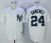 Wholesale Cheap Yankees #24 Gary Sanchez White Strip New Cool Base Stitched MLB Jersey