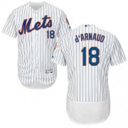 Wholesale Cheap Mets #18 Travis d'Arnaud White(Blue Strip) Flexbase Authentic Collection Stitched MLB Jersey